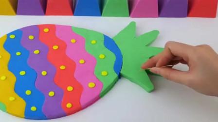 如何用彩虹沙手工制作菠萝