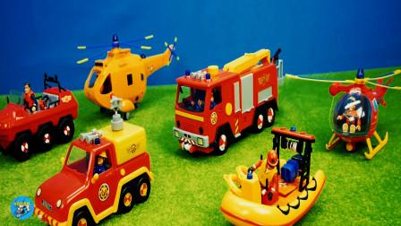 惯性玩具车,黄色红色直升飞机,橡皮艇消防车敞篷车,儿童玩具亲子互动