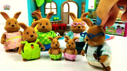 儿童布偶玩具,小兔子家族的快乐生活