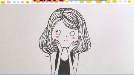教你画一个超可爱Q萌的小女孩简笔画!简单几笔画漂亮害羞美少女速写手绘画!