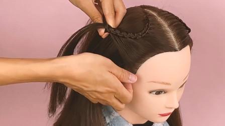 小女孩编发教程之简单易上手的极漂亮半扎发发型
