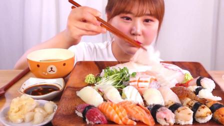 韩国大胃王小姐姐,试吃各种生鱼片,看她吃口水都流出来了