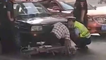 咋想的?男子故意撞警车碰瓷 警察:头一回见