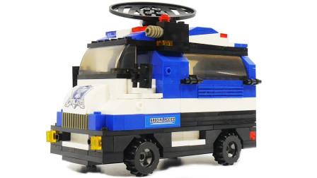 乐高积木警车玩具拆箱