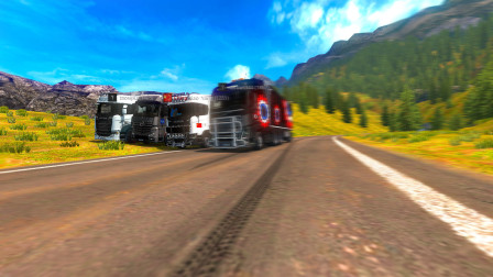 欧洲卡车模拟2:四人联机事故回放汉诺威—布拉格一路说笑到达目的地