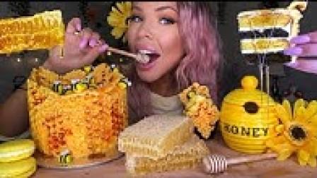 【hunnibee】食用蜜蜂、蜂巢蛋糕、生蜂巢、向日葵曲奇吃秀木桶(2019年8月20日1时32分)