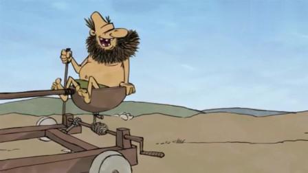 疯狂原始人:原始人小哥真是秀!为了过一条小河,竟制作了大型机器
