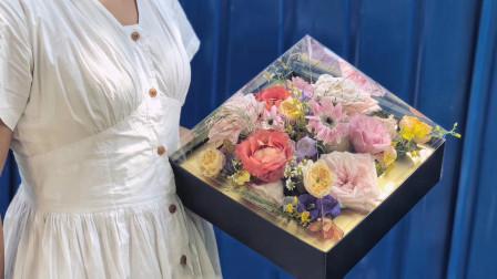 """花艺教程:8分钟钻石盒子插花,""""邂逅""""咖啡时间"""