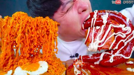 """韩国""""深渊巨口""""小哥:吃炸酱面和火腿肠,看他吃小编都饿了"""