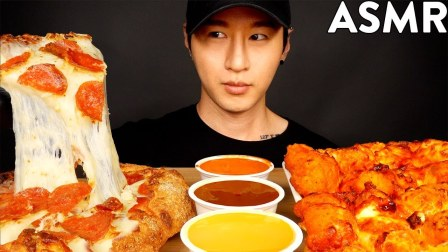 【zach choi】芝士意大利辣香肠披萨和水牛鸡Mukbang(不说话)吃的声音zach choi(2019年8月11日13时30分)