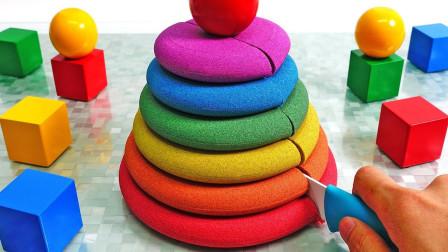魔力太空沙造型百变 DIY制作多层彩虹蛋糕
