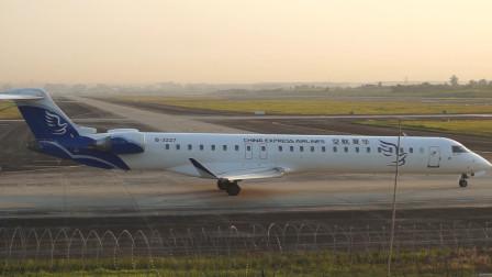 实拍华夏航空庞巴迪CRJ900NG起飞全程,这私人小飞机真可爱