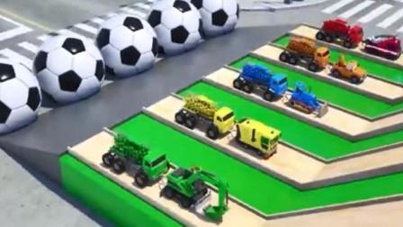 汽车总动员:挖掘机 推土机 吊车 消防车拉罐车们上坡  小汽车们运载动物去动物园