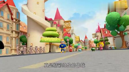 五灵守卫者被公主请进宫殿,并为他们颁发荣誉证书,猪猪侠狂吃