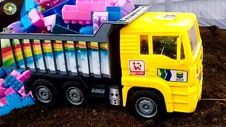 儿童工程车玩具,自卸车和装载车拆除大桥玩具,儿童汽车玩具