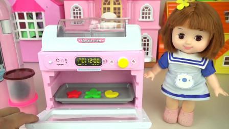 咪露妹妹的趣味仿真烤箱玩具,做美味可口的人形曲奇饼干吃