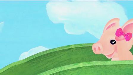 英语益智动漫:十只小猪玩跷跷板,上去之后平衡了,真是太神奇了