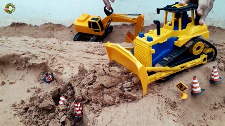 儿童挖掘机自卸车和装载车玩具,大块积木架桥玩具