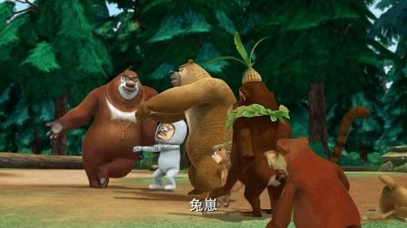 熊出没: 强哥果然没白砍树, 扎马步是狗熊岭的冠军