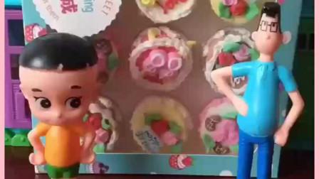 小头爸爸给大头儿子买了好多蛋糕,蛋糕太多啦,不知道先吃哪个了