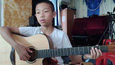 梁胜捷同学学习吉他视频《两只老虎》