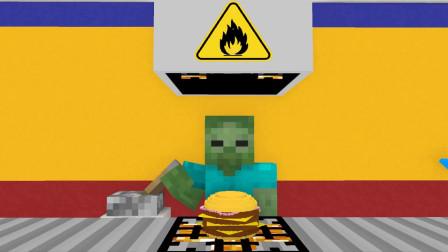 我的世界动画-怪物学院-汉堡店打工-Kefe Animations