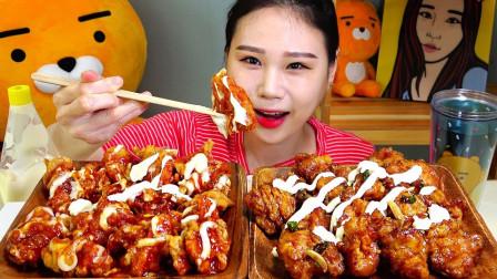 """韩国吃播:一桌子的""""调味纯肉炸鸡"""",淋上新鲜奶油,吃得真过瘾"""