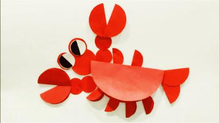 儿童手工制作 手工贴画 小龙虾贴画制作