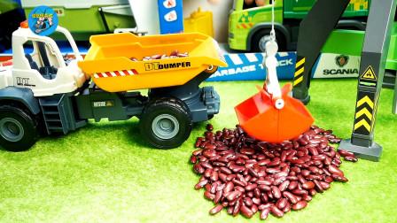 惯性工程车和农场拖车玩具,翻斗车塔吊运输梅豆粒,儿童玩具车,儿童玩具亲子互动