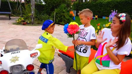 熊孩子采摘花朵送给妈妈被萌娃小可爱抓个正着!—萌娃:这些花朵是禁止采摘的哟!