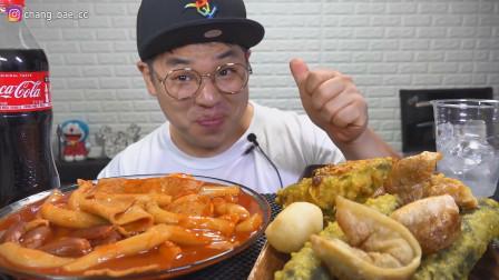 韩国吃播:急诊室炒年糕+炸饺子+炸蔬菜卷,吃得真香,辣得真过瘾