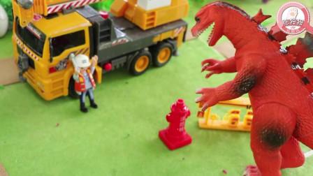 张猫猫与恐龙玩具星球 恐龙将军哥斯拉为保护蛋破坏飞机场