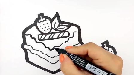 儿童趣味手工制作:草莓蛋糕简笔画,启蒙宝宝的想象力