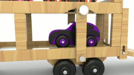 学前儿童学习颜色英语,看七彩玩具小木车卡通视频,轻松益智