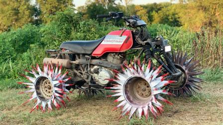 改装牛人设计刺猬型轮毂,一开到泥地就显示出威力了!