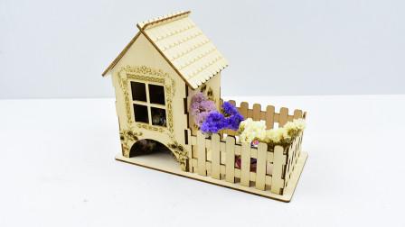 手工插拼超精美桌面糖果收纳房子模型!
