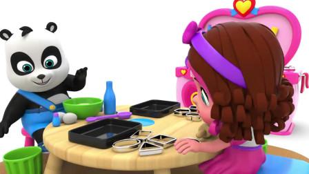 小朋友们做烘焙捏面团,学习形状英语,丽莎英语视频形象益智