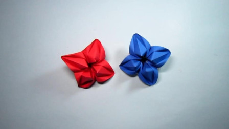 手工折纸,杨桃花的折法,简单漂亮一张纸就能完成