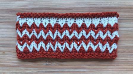 棒针双色花样的编织教程,可爱的心形图案,给儿童织背心真好看方法视频