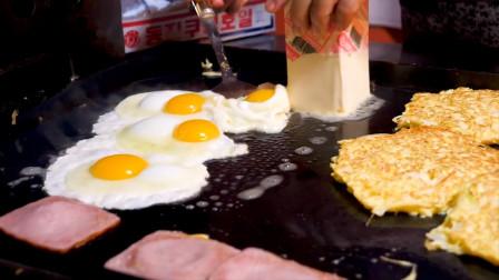 韩国街头爆款小吃:鸡蛋吐司!老板直接手拿面包抹黄油,猜猜啥味