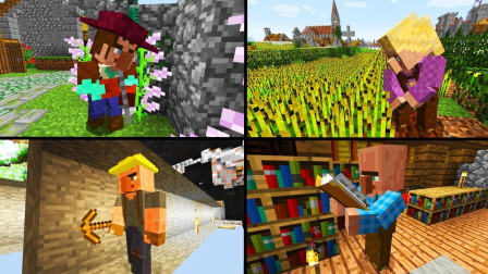 我的世界国际版24:新村民自己砍树耕地挖矿 一切全自动 魔哒解说
