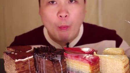 大胃王:胖哥吃巧克力,芝士和彩虹千层蛋糕等