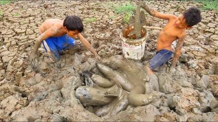 野外河流快干裂了,农村男孩挖开泥巴,底下竟藏有这么多野货!