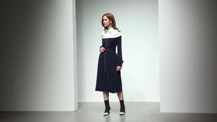 2019秋装新款 欧美时尚撞色两件套斗篷收腰压褶中长款连衣裙外套