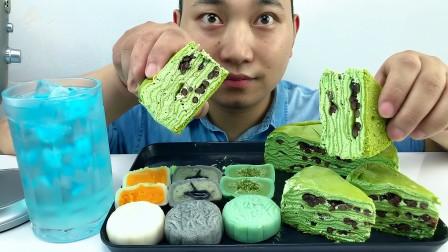 吃冰达人!吃抹茶红豆千层蛋糕与冰皮月饼,听不一样的咀嚼音!