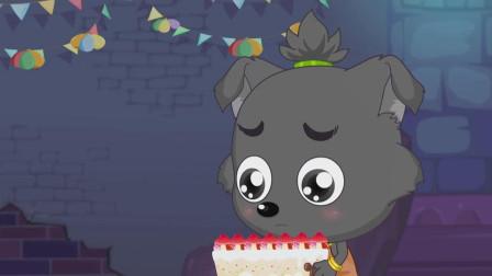 小灰灰给灰太狼做了生日蛋糕,可灰太狼迟迟不回家,小灰灰很失落