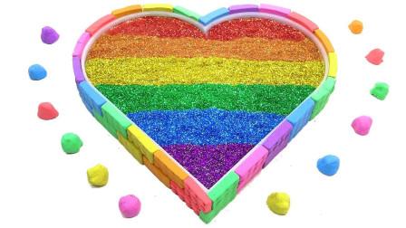 混合泥沙制作闪光彩虹心