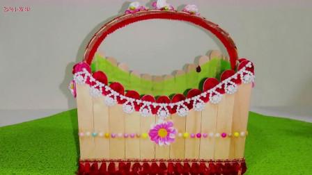 神奇的DIY创意,雪糕棒制作花篮,不得不佩服手工的手艺