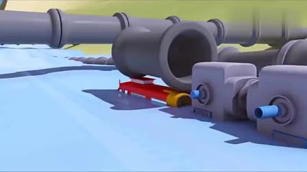 不好水管爆了发洪水了火车特洛伊前来维修儿童动画片