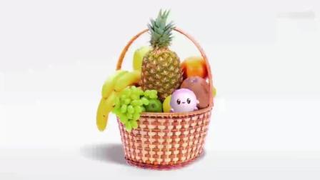 文文的篮子里都是水果,里面有杏子、菠萝、香蕉,好多品种啊!